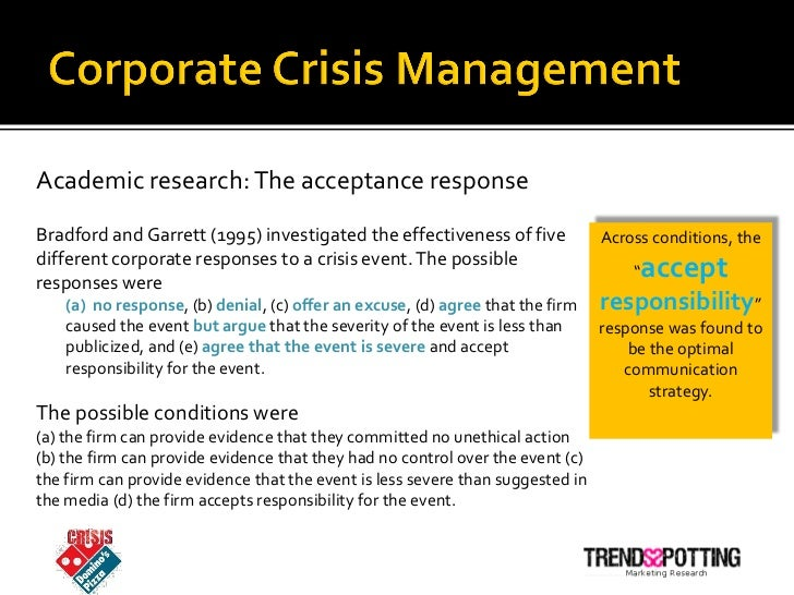 "dominos pizza a crisis management case Today's social video frenzy is a real time case study of what happens  please  also read: ""reinventing crisis communication for the social web""  in the last  24 hours, videos of two of domino's pizza employees appearing."