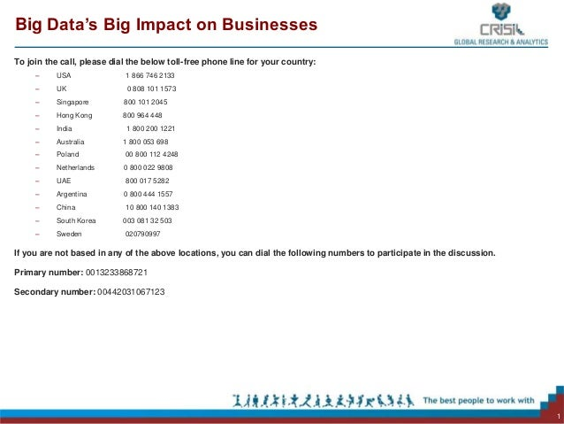 Big Data's Big Impact on BusinessesTo join the call, please dial the below toll-free phone line for your country:     –   ...