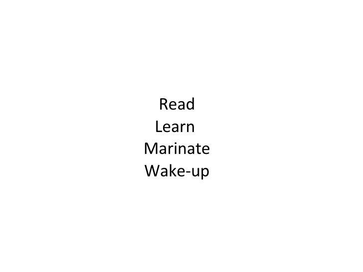 Read Learn  Marinate Wake-up
