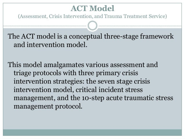 model of crisis intervention 3 steps in the model the abc model of crisis intervention a-basic attending skills to develop and maintain rapport b-identifying the nature of the crisis.