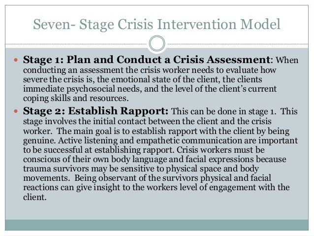 7 stages of an essay crisis Read the seven-stage crisis intervention model: a road map to goal attainment, problem solving, and crisis resolution, brief treatment and crisis intervention on deepdyve, the largest online rental service for scholarly research with thousands of academic publications available at your fingertips.