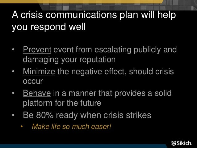 communicating with stakeholders during a crisis example