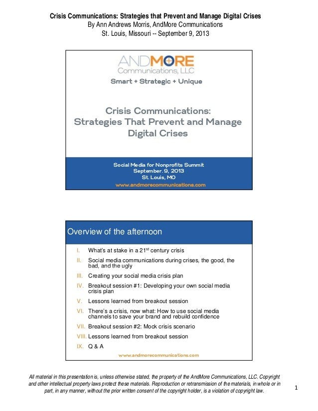 Crisis Communications: Strategies that Prevent and Manage Digital Crises By Ann Andrews Morris, AndMore Communications St....