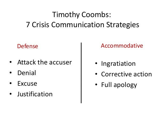 Timothy Coombs:      7 Crisis Communication Strategies    Defense                Accommodative•   Attack the accuser    • ...