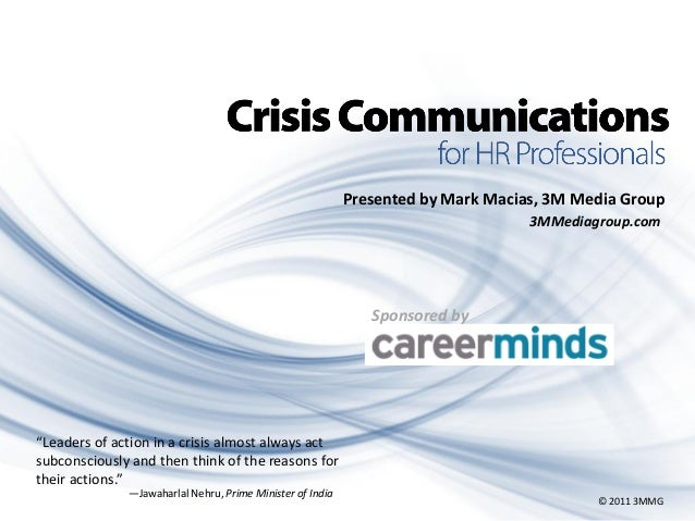 """Presented by Mark Macias, 3M Media Group 3MMediagroup.com  Sponsored by  """"Leaders of action in a crisis almost always act ..."""