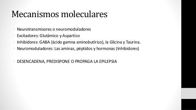 Mecanismos moleculares • Neurotransmisores o neuromoduladores • Excitadores: Glutámico y Aspartico • Inhibidores: GABA (ác...