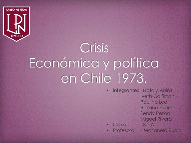 Crisis Económica y política en Chile 1973. • Integrantes : Nataly Aniñir Iveth Calfiman Paulina Leal Roxana Lizama Sendy P...