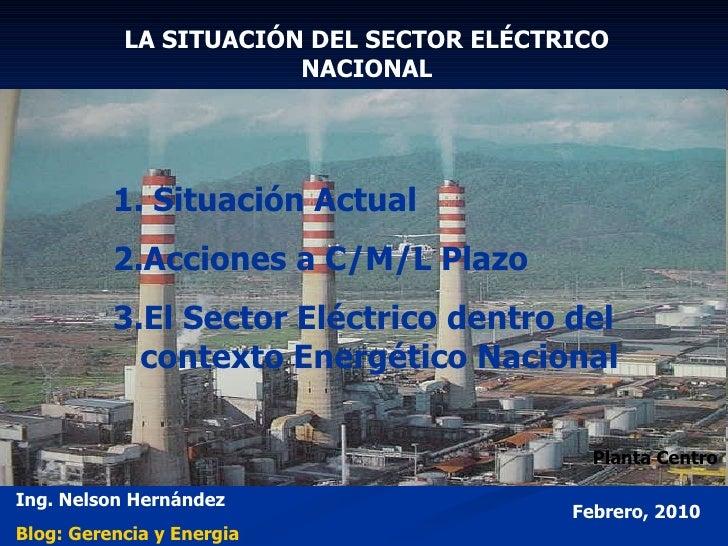 LA SITUACIÓN DEL SECTOR ELÉCTRICO NACIONAL <ul><li>Situación Actual </li></ul><ul><li>Acciones a C/M/L Plazo </li></ul><ul...