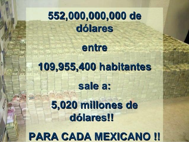 552,000,000,000552,000,000,000 dede dólaresdólares entreentre 109,955,400 habitantes109,955,400 habitantes sale a:sale a: ...