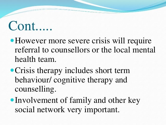 crisis intervention a review To review the effects of crisis-intervention models for anyone with serious mental illness waqar m crisis intervention for people with severe mental.