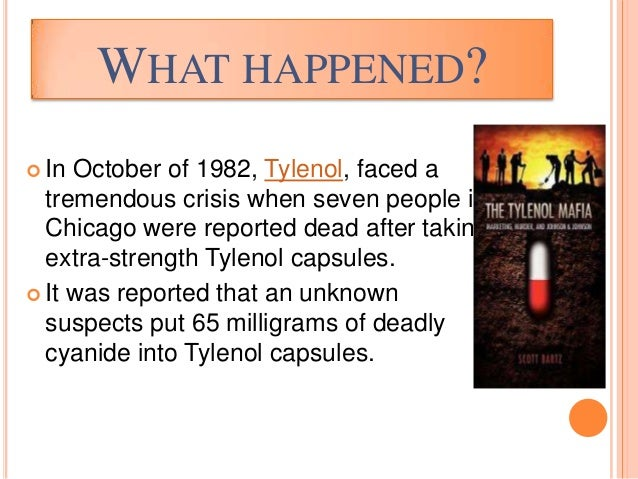 tylenol recall 1982 essay Project 1 part 1 in october of 1982, tylenol, the leading pain-killer medicine in the united states at the time, faced a tremendous crisis when seven people in chicago were reported dead after taking extra-strength tylenol capsules.