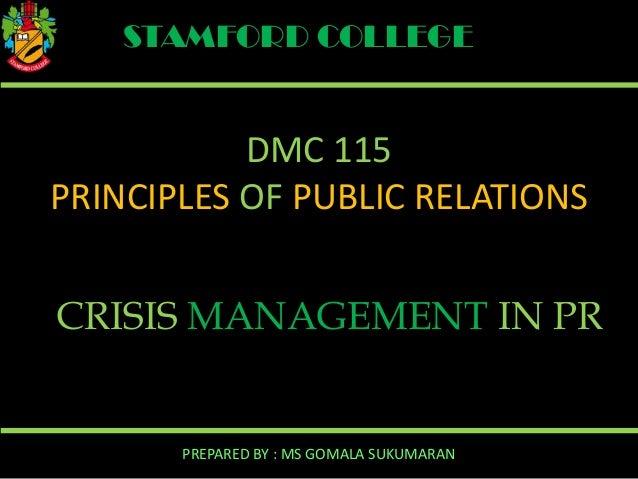 Managing a Crisis Using Pr