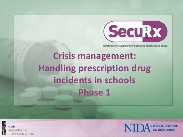Crisis management:  Handling prescription drug  incidents in schools  Phase 1