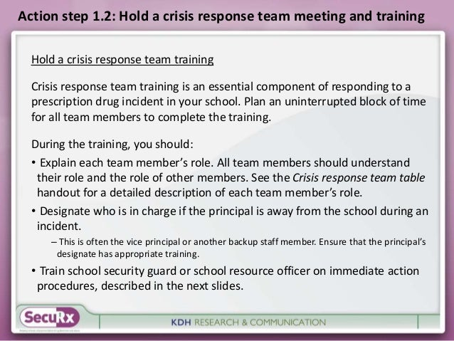 Action step 1.2: Hold a crisis response team meeting and training  Hold a crisis response team training  Crisis response t...
