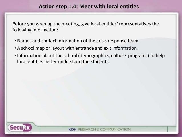 Action step 1.4: Meet with local entities  Before you wrap up the meeting, give local entities' representatives the  follo...