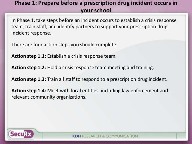 Phase 1: Prepare before a prescription drug incident occurs in  your school  In Phase 1, take steps before an incident occ...