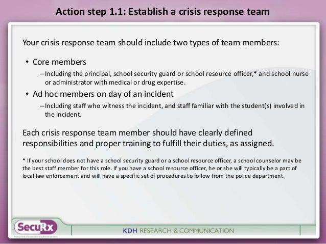 Action step 1.1: Establish a crisis response team  Your crisis response team should include two types of team members:  • ...