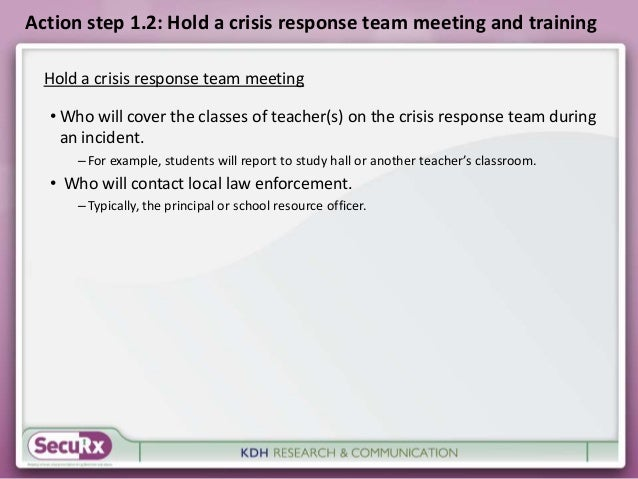 Action step 1.2: Hold a crisis response team meeting and training  Hold a crisis response team meeting  • Who will cover t...