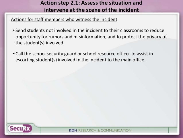 Action step 2.1: Assess the situation and  intervene at the scene of the incident  Actions for staff members who witness t...