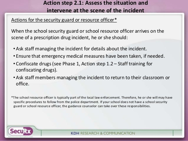 Action step 2.1: Assess the situation and  intervene at the scene of the incident  Actions for the security guard or resou...