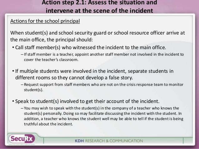 Action step 2.1: Assess the situation and  intervene at the scene of the incident  Actions for the school principal  When ...