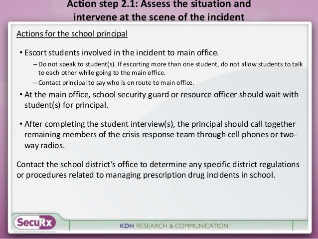 Action step 2.1: Assess the situation and  intervene at the scene of the incident  Actions for the school principal  • Esc...