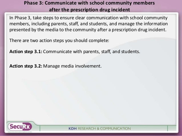 Phase 3: Communicate with school community members  after the prescription drug incident  In Phase 3, take steps to ensure...