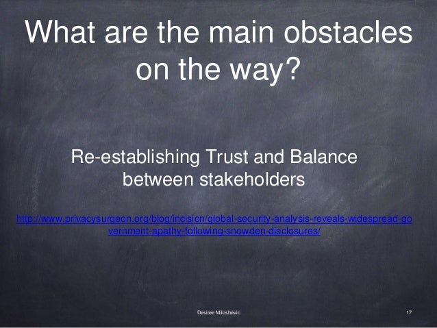 What are the main obstacles on the way? 17Desiree Miloshevic Re-establishing Trust and Balance between stakeholders http:/...