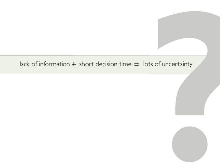 lack of information + short decision time   =                                                        ?                    ...