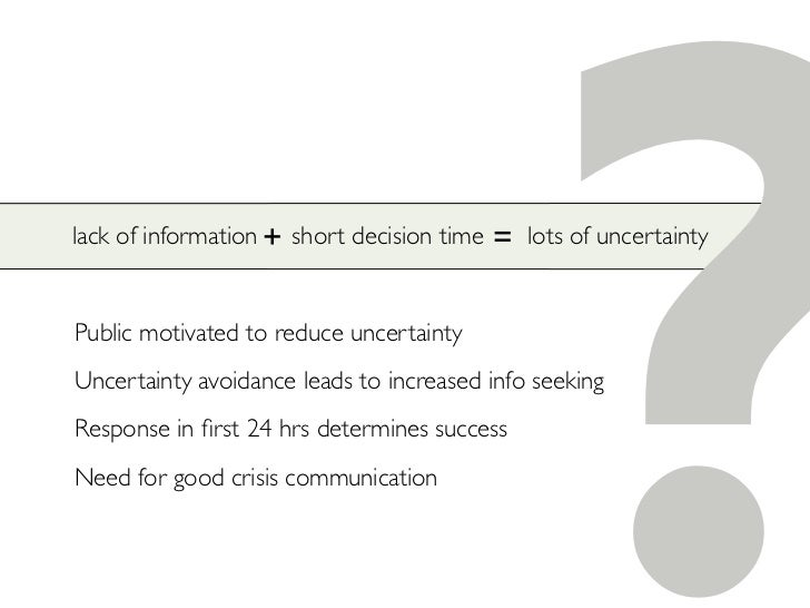 lack of information + short decision time   Public motivated to reduce uncertainty                                        ...