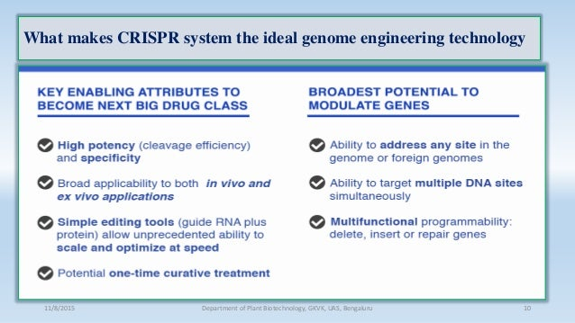 What makes CRISPR system the ideal genome engineering technology 11/8/2015 Department of Plant Biotechnology, GKVK, UAS, B...