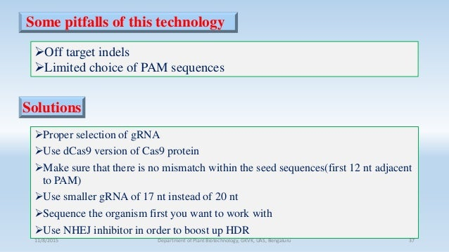 Some pitfalls of this technology Proper selection of gRNA Use dCas9 version of Cas9 protein Make sure that there is no ...