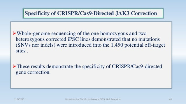 Specificity of CRISPR/Cas9-Directed JAK3 Correction Whole-genome sequencing of the one homozygous and two heterozygous co...