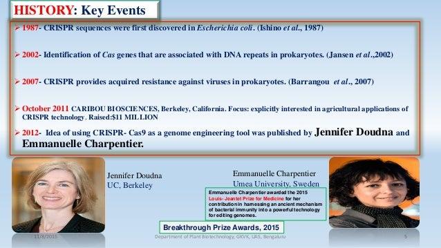 HISTORY: Key Events  1987- CRISPR sequences were first discovered in Escherichia coli. (Ishino et al., 1987)  2002- Iden...