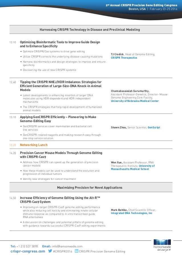 Harnessing CRISPR Technology in Disease and Preclinical Modeling 12.10  Optimizing Bioinformatic Tools to Improve Guide D...