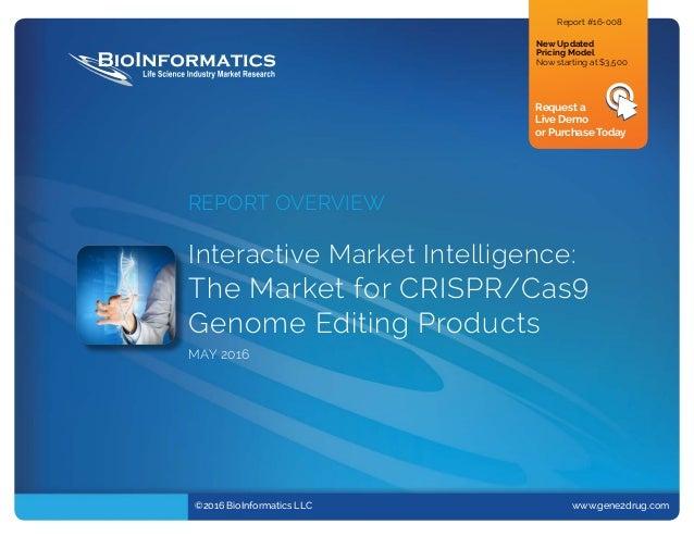 ©2016 BioInformatics LLC www.gene2drug.com REPORT OVERVIEW Interactive Market Intelligence: The Market for CRISPR/Cas9 ...