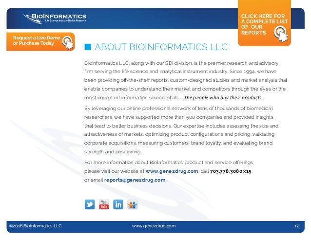 @2013 BioInformatics, LLC n www.gene2drug.com n Report #13-005 ©2016 BioInformatics LLC www.gene2drug.com 17 n ABOUT B...