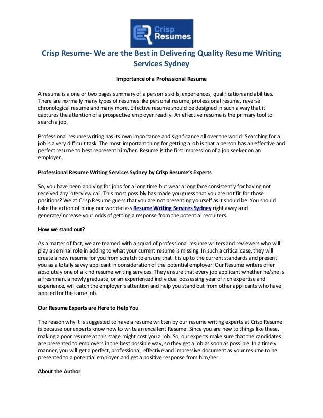 resume writing services sydney