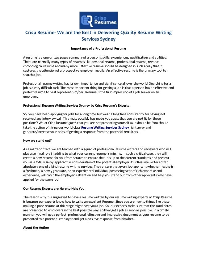 Crisp Resume  We Are The Best In Delivering Quality Resume Writing Services  Sydney Importance Of ...