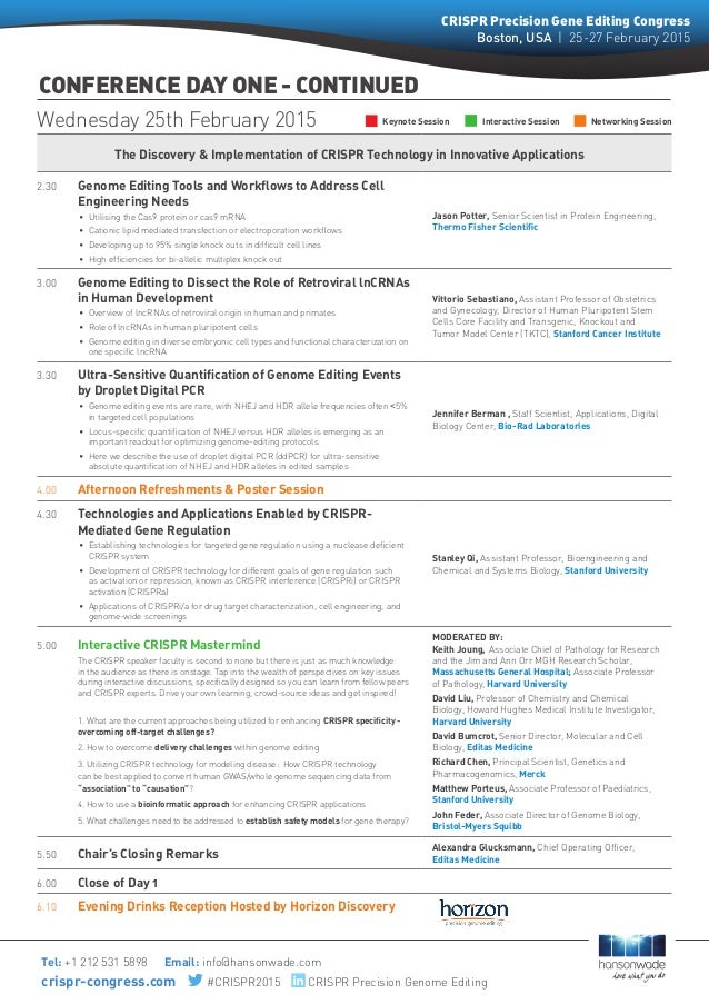 The Discovery & Implementation of CRISPR Technology in Innovative Applications 2.30 Genome Editing Tools and Workflows to...