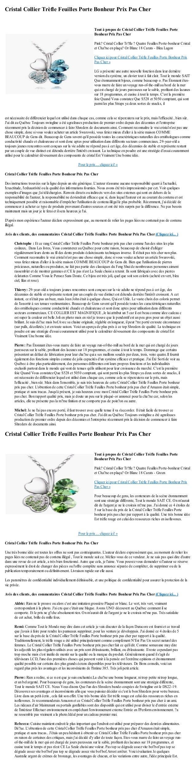 Cristal Collier Trèfle Feuilles Porte Bonheur Prix Pas Cherest nécessaire de différencier lequel est utilisé dans chaque c...