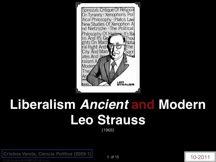 Liberalism Ancient and Modern              Leo Strauss                                             (1968)Cristina Varela, ...