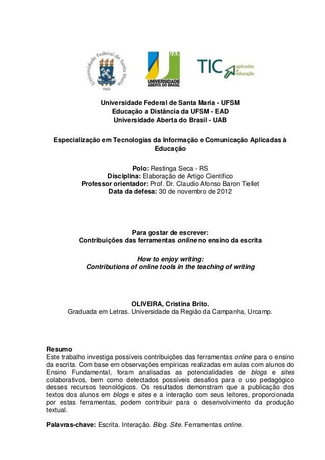 Universidade Federal de Santa Maria - UFSMEducação a Distância da UFSM - EADUniversidade Aberta do Brasil - UABEspecializa...