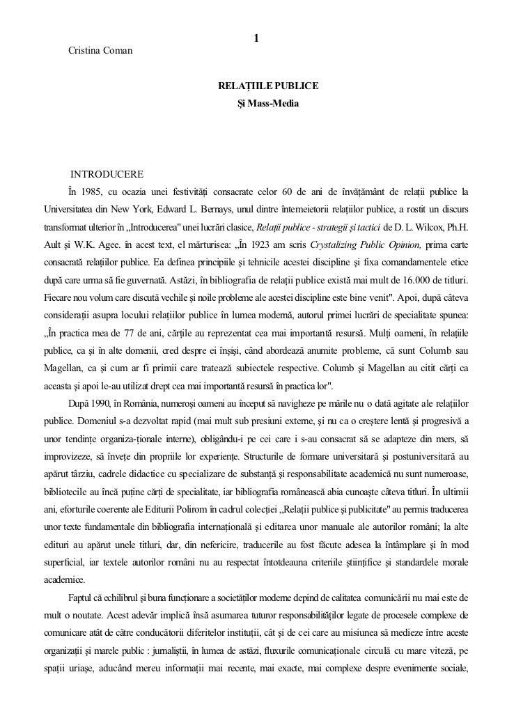 1      Cristina Coman                                                  RELAŢIILE PUBLICE                                  ...
