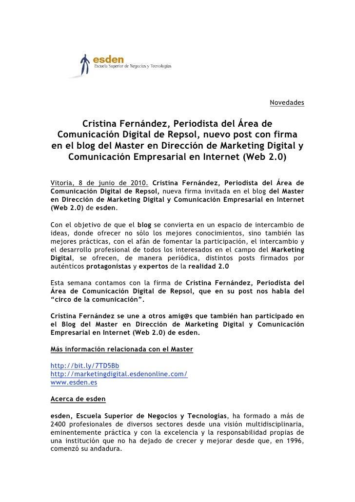 Novedades          Cristina Fernández, Periodista del Área de  Comunicación Digital de Repsol, nuevo post con firma en el ...