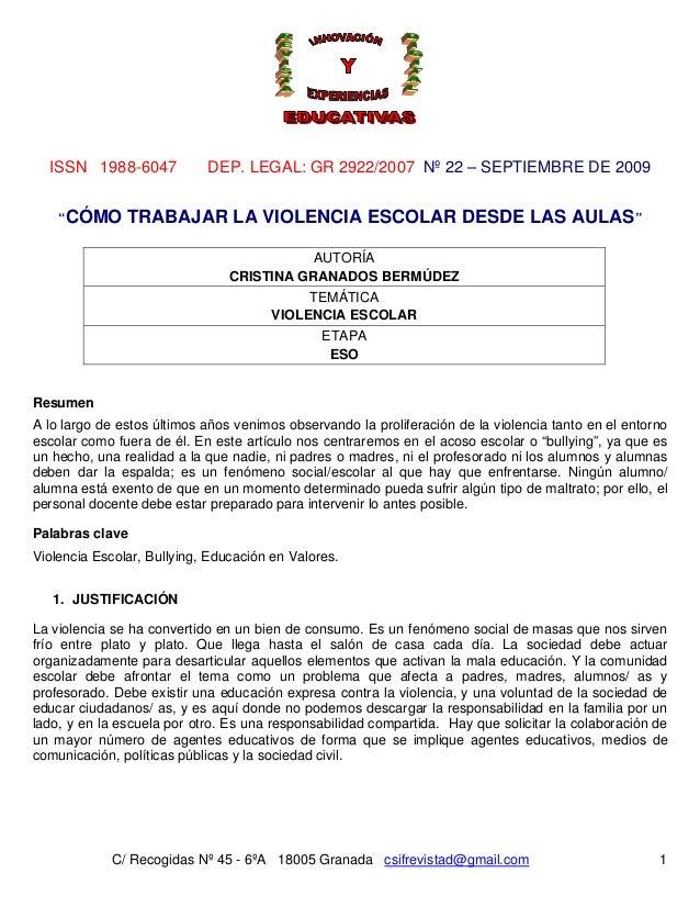 ISSN 1988-6047 DEP. LEGAL: GR 2922/2007 Nº 22 – SEPTIEMBRE DE 2009 C/ Recogidas Nº 45 - 6ºA 18005 Granada csifrevistad@gma...