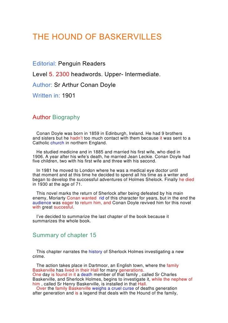 THE HOUND OF BASKERVILLES   Editorial: Penguin Readers Level 5. 2300 headwords. Upper- Intermediate. Author: Sr Arthur Con...