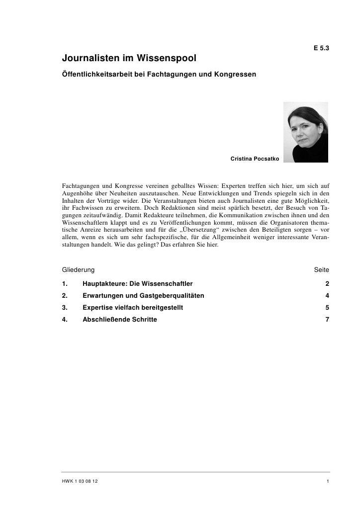 E 5.3 Journalisten im Wissenspool Öffentlichkeitsarbeit bei Fachtagungen und Kongressen                                   ...