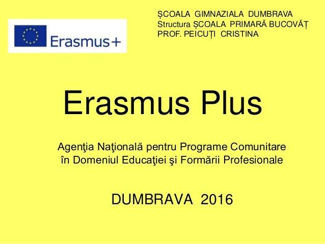 Erasmus Plus Agenţia Naţională pentru Programe Comunitare în Domeniul Educaţiei şi Formării Profesionale DUMBRAVA 2016 ȘCO...