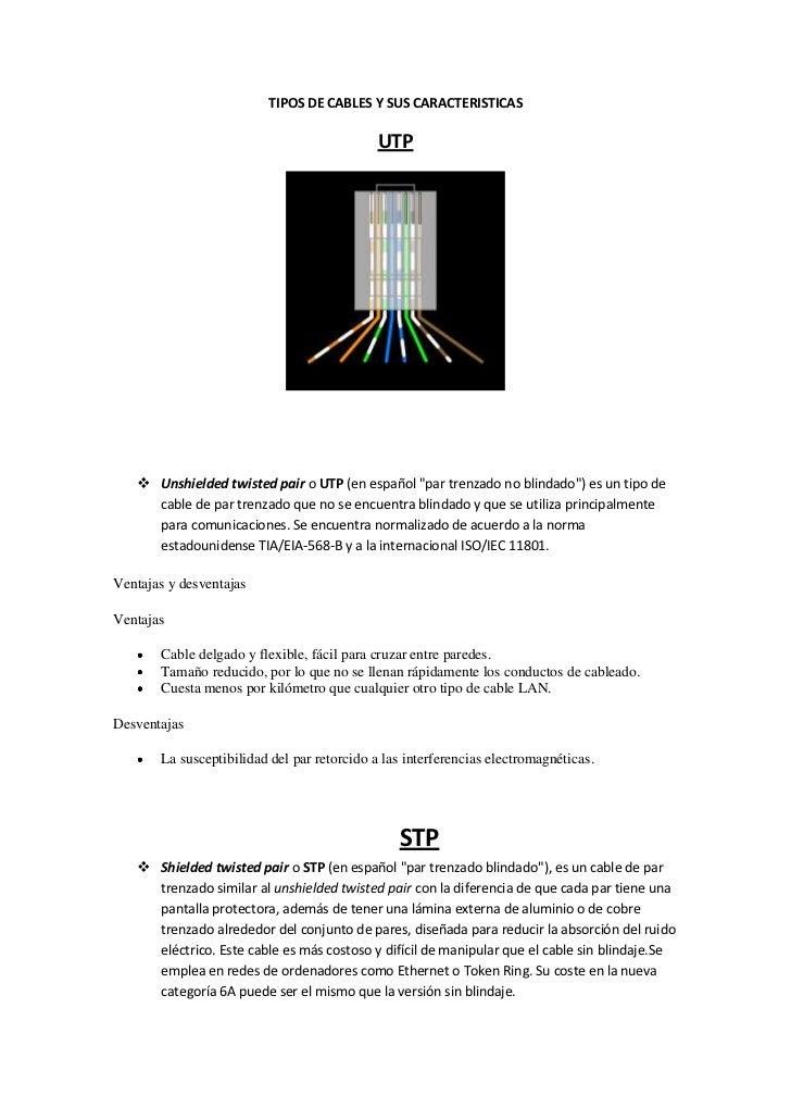 """TIPOS DE CABLES Y SUS CARACTERISTICAS<br />UTP<br />Unshielded twisted pair o UTP (en español """"par trenzado no blindado"""") ..."""